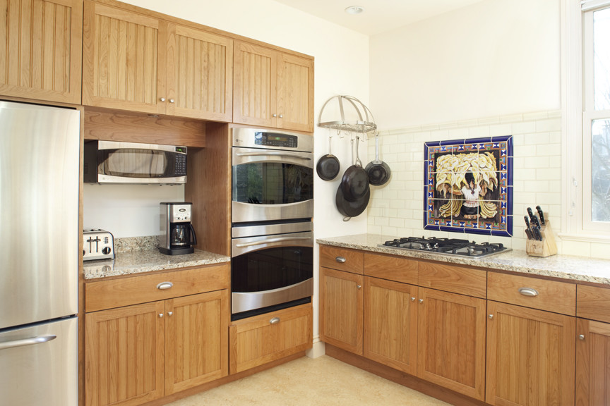 cool wall mounted pot rack in kitchen