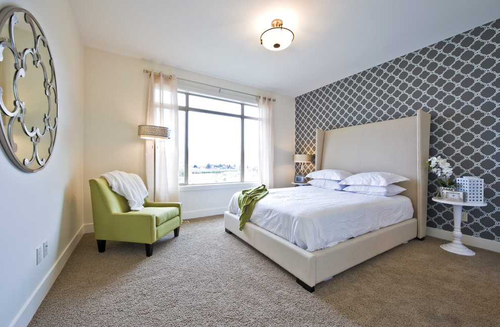 Cool wingback bed in Bedroom Transitional with Carpet Trends  next to Master Bedroom Wallpaper  alongside Wallpaper Accent Wall  and Living Room Wallpaper