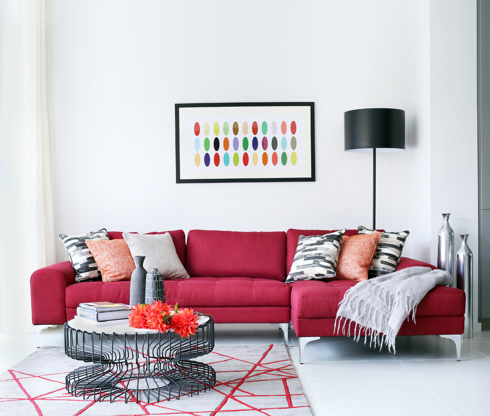 Red Leather Sofa Living Room Ideas Part - 21: Red Leather Couch Living Room Ideas House Decor