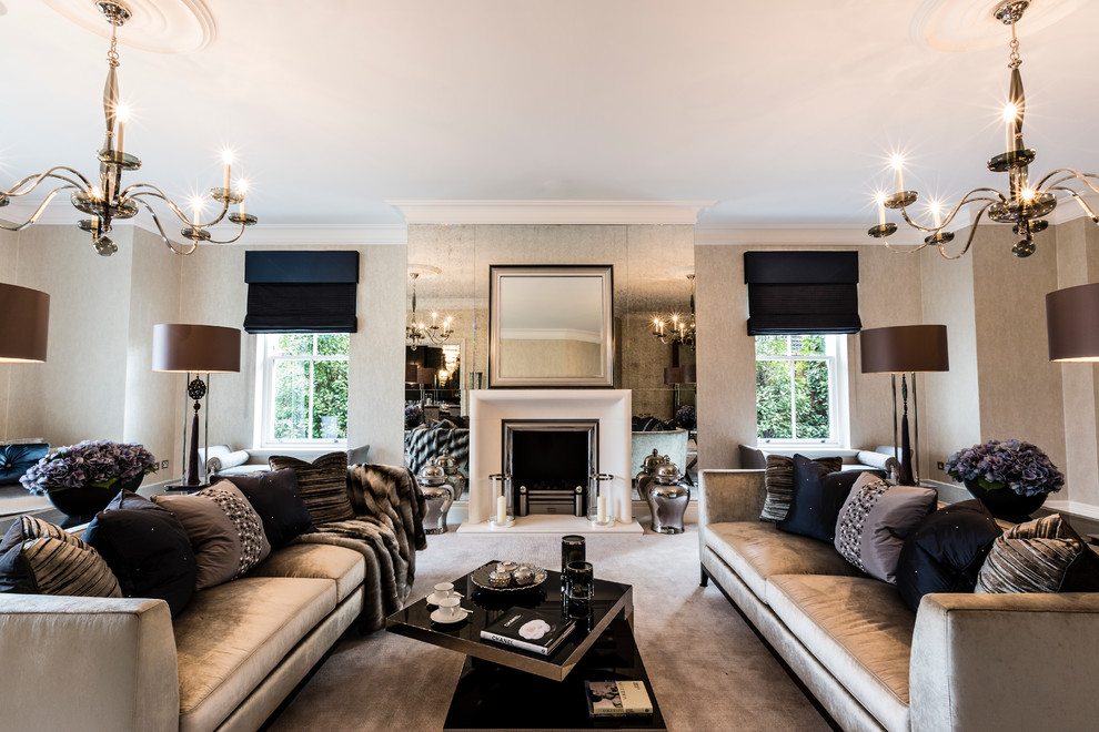 Drum Lamp Shade In Living Room Contemporary With Hollywood Regency