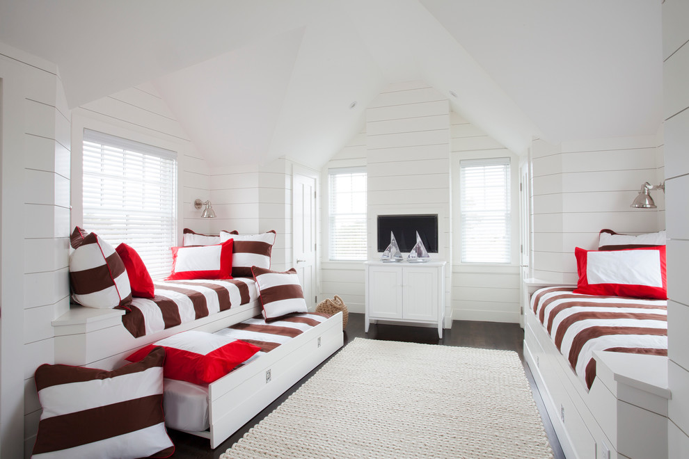 Glamorous trundle bunk beds in Bedroom Beach Style with Single Horizontal Stripe  next to Oak Furniture  alongside Boat Bed  and Bunk Room