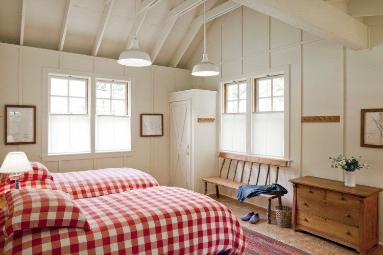 Gorgeous Buffalo Check Curtains In Bedroom Farmhouse With Building On Slopes Next To Front Porch Alongside