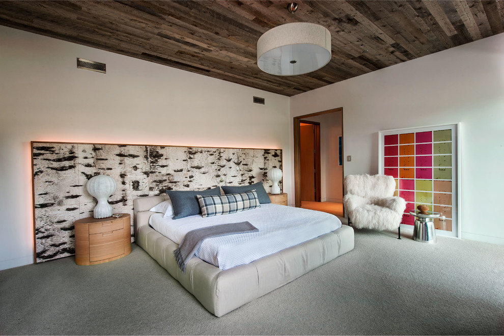 Gorgeous  upholstered platform bed in Bedroom Contemporary with Martini Side Table  next to Birch Bark Furniture  alongside Martini Table  and Birch Bark Walls