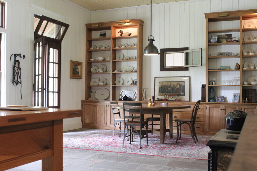 Impressive duck river textile in Dining Room Farmhouse with Clothesline  next to Round Dining Room Table  alongside Bluestone Floor  and Cast Iron Sink