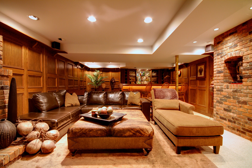 Pretty Leather Sectional With Chaise In Family Room