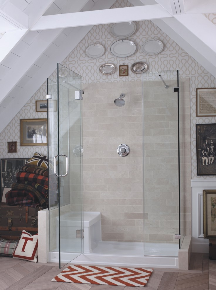 Inspired kohler shower base in Bathroom Eclectic with White Painted Wood Ceiling  next to Self-adhesive Wallpaper  alongside Showers With Seat  and Shower Base