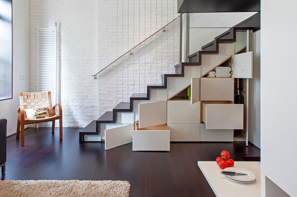 Inspired pyrex storage set in Staircase Industrial with Small House Design  next to Main Door Design  alongside Painted Stairs  and Open Concept Kitchen Living Room