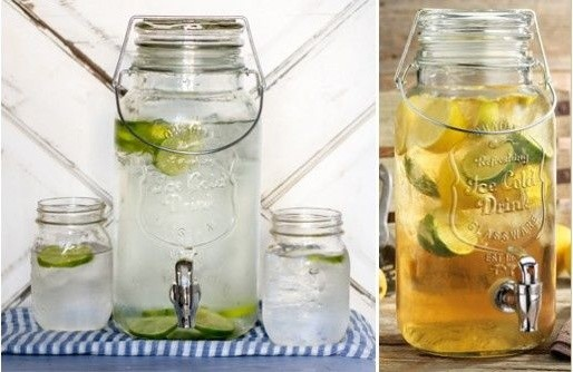 Pretty glass beverage dispenser in Spaces Farmhouse with next to alongside and