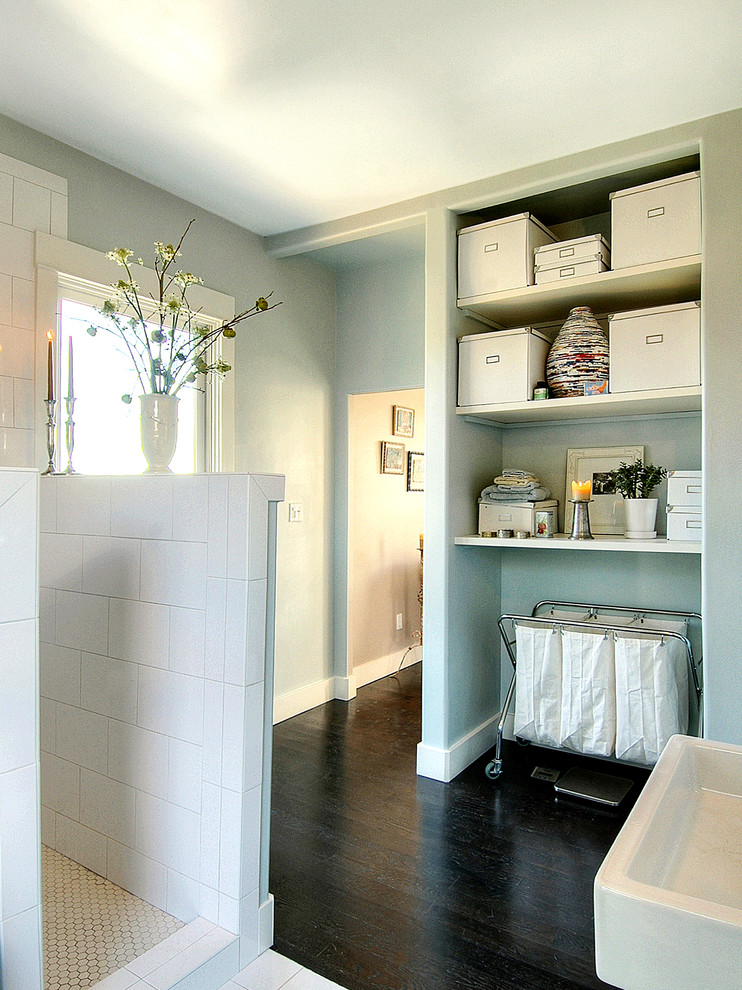 Pretty Laundry Hamper With Lid In Bathroom Contemporary