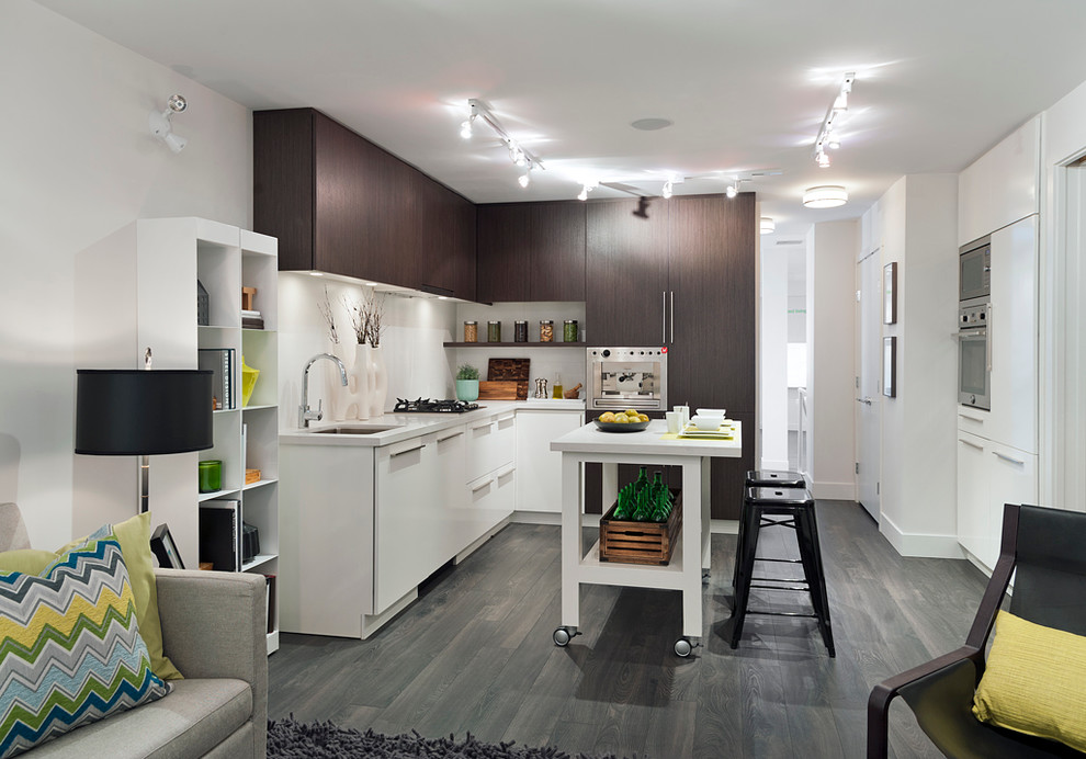 Pretty movable kitchen islands in Kitchen Contemporary with Movable Kitchen Island  next to Bachelor Pad  alongside Snack Bar  and Tiny Studio Apartment Ideas