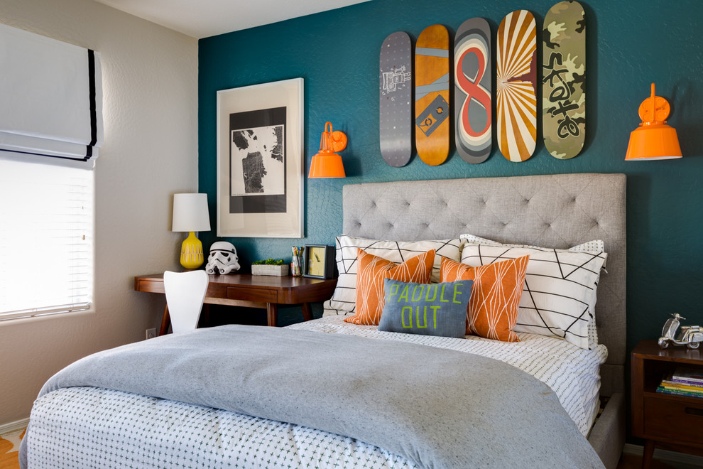 grey bedroom with orange accents. together with living room with,