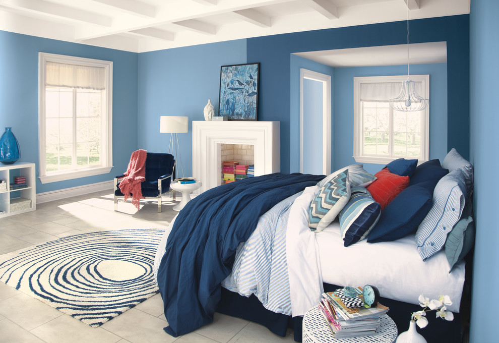 Pretty upholstered platform bed in Bedroom Contemporary with  next to N  alongside F# and A