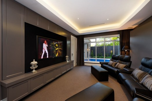 Splashy Double Recliner In Home Theater Contemporary With Wide Next To Built Wall Unit Alongside