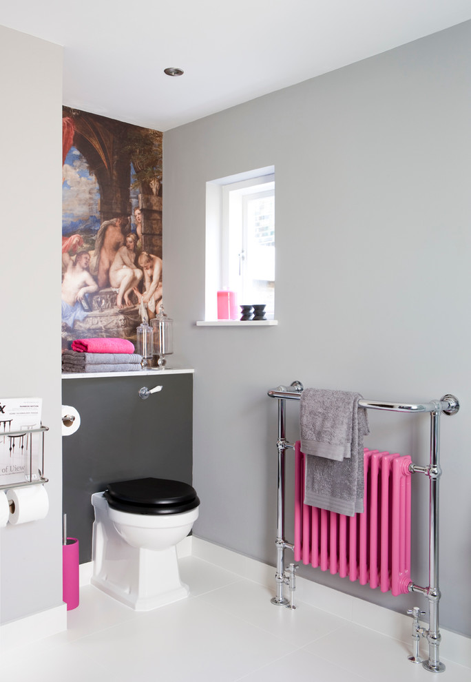 Splashy wall mount paper towel holder in Bathroom Transitional with Living Room Wallpaper  next to Grey Bathroom  alongside Bathrooms  and Grey Living Room