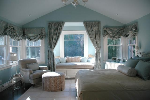 Splashy white ruffle curtains in Bedroom Traditional with Arched Windows Curtains  next to Bedroom Curtain Ideas  alongside Bay Window  and Bay Window Treatment Ideas