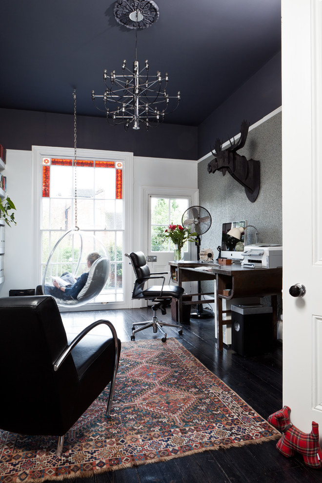 Sumptuous ceiling fan globes in Home Office Transitional with Pictures Of Bungalow Homes  next to Black Leather Sofa Ideas  alongside Painted Ceiling  and Warm Living Room Paint Colors