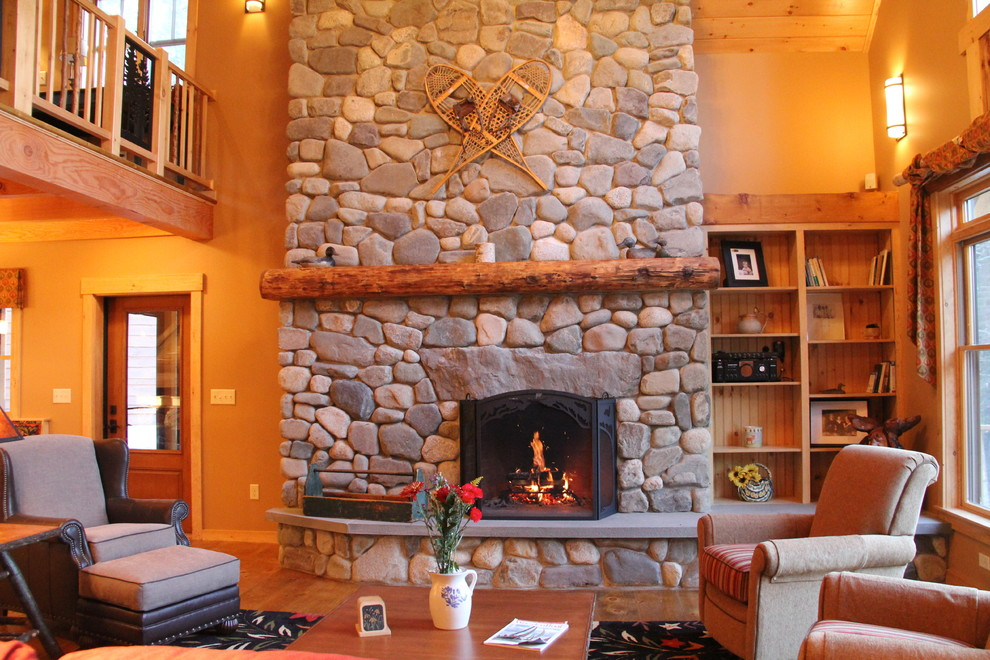 Sumptuous duck river textile in Family Room Rustic with Foyer Living Room  next to Wooden Railing  alongside Rustic Family Room  and Raised Fireplace