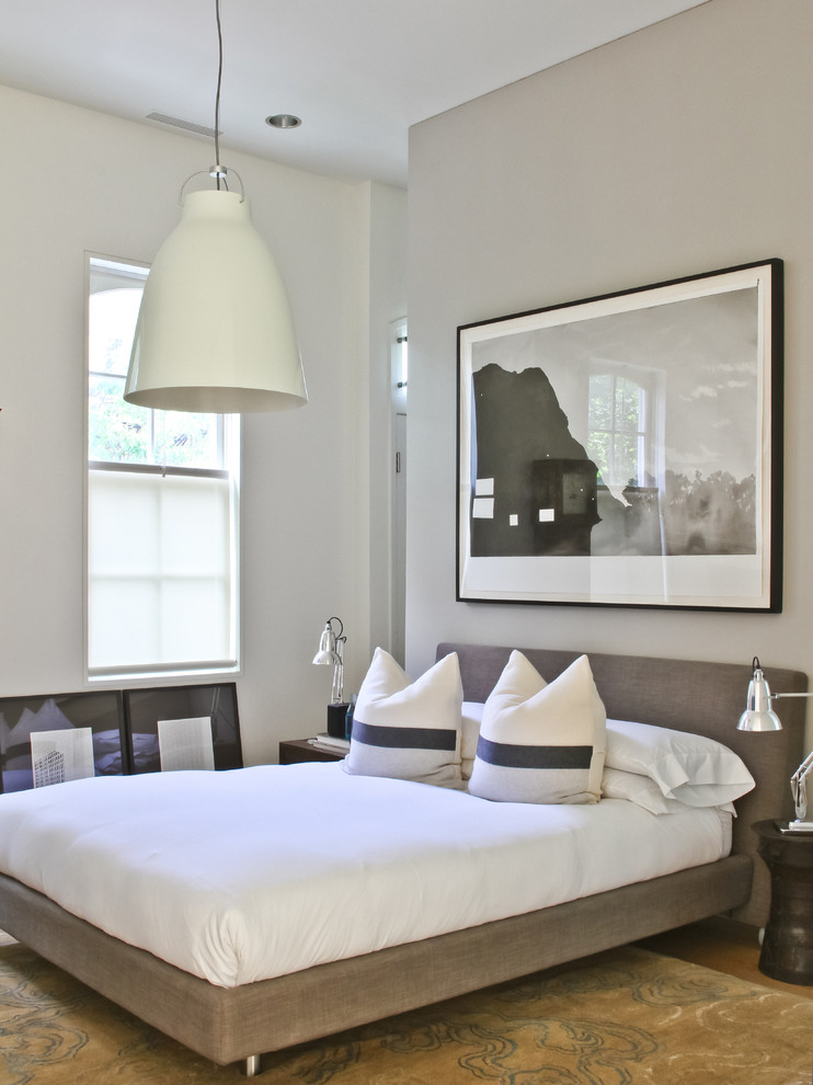 Sumptuous upholstered platform bed in Bedroom Contemporary with Picture Over Bed  next to Low Profile Tub  alongside Low Bed  and Masculine Apartments