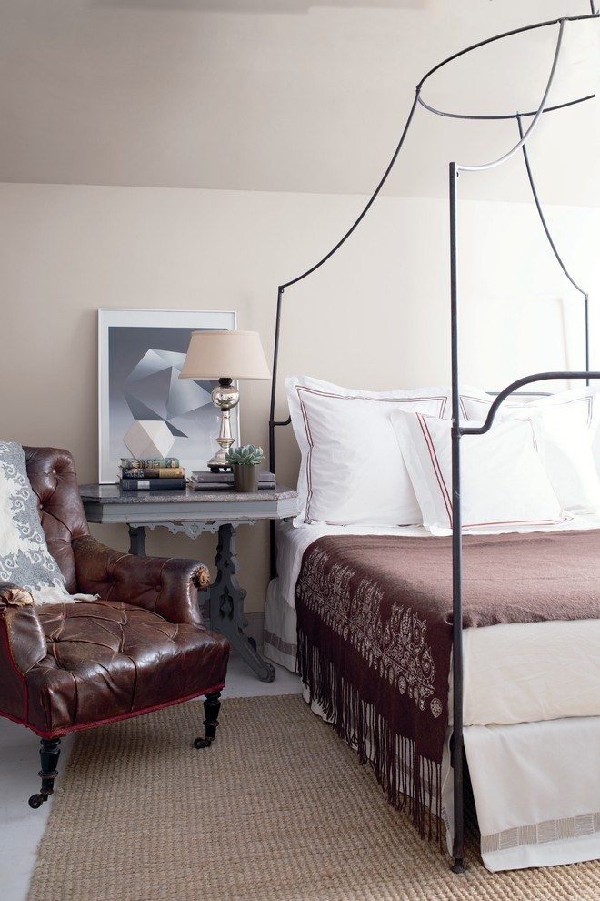 Sumptuous wingback bed in Bedroom Traditional with Iron Canopy Bed  next to Chantilly Lace  alongside Portland Gray  and Latest Bedroom Colour Trends