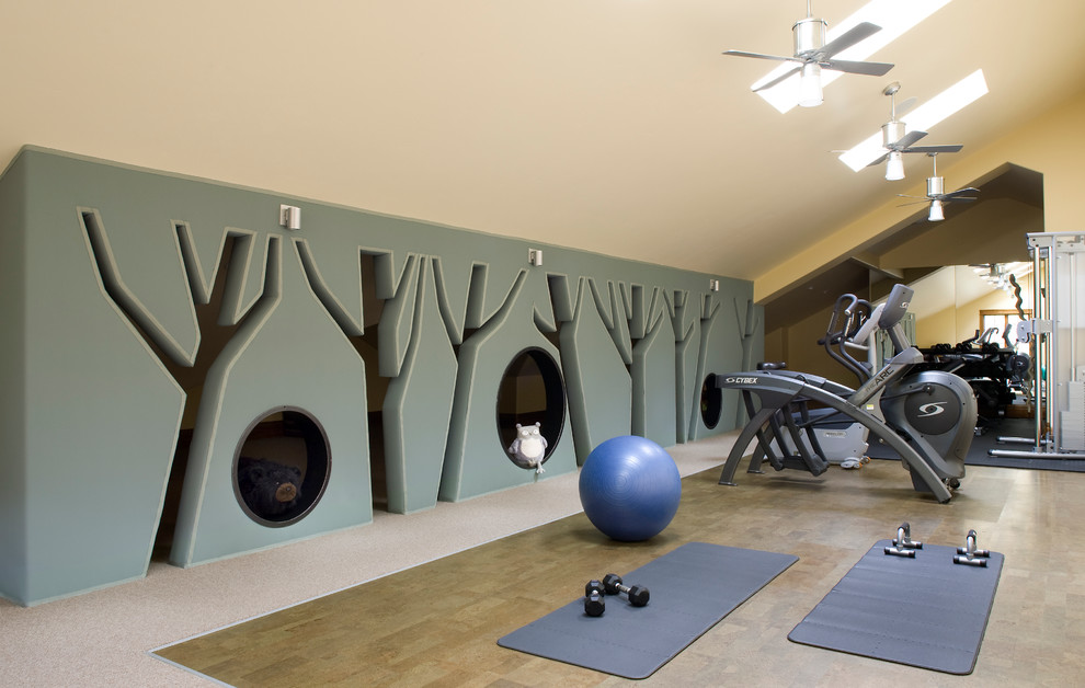 Superb thick yoga mat in Home Gym Rustic with Flooring  next to Ceiling Fan Ideas  alongside Wall Decorating Idea  and Best Home Gym Colors