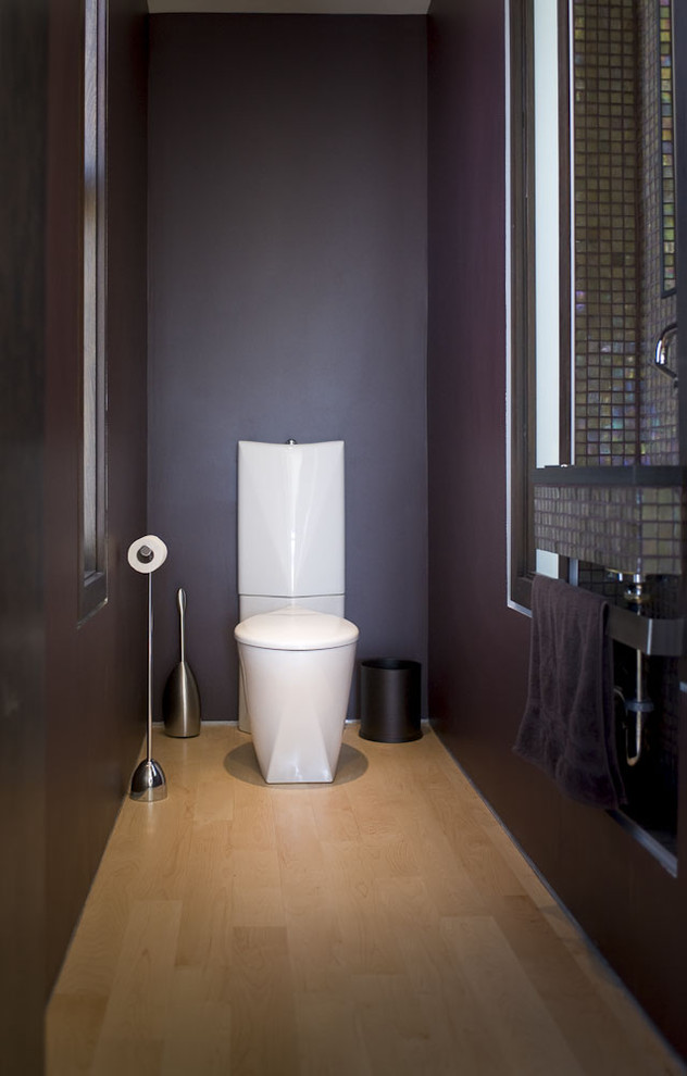 Superb wall mount paper towel holder in Powder Room Modern with Purple Walls  next to Wall Mounted Toilet  alongside Toilet Room  and Toilet