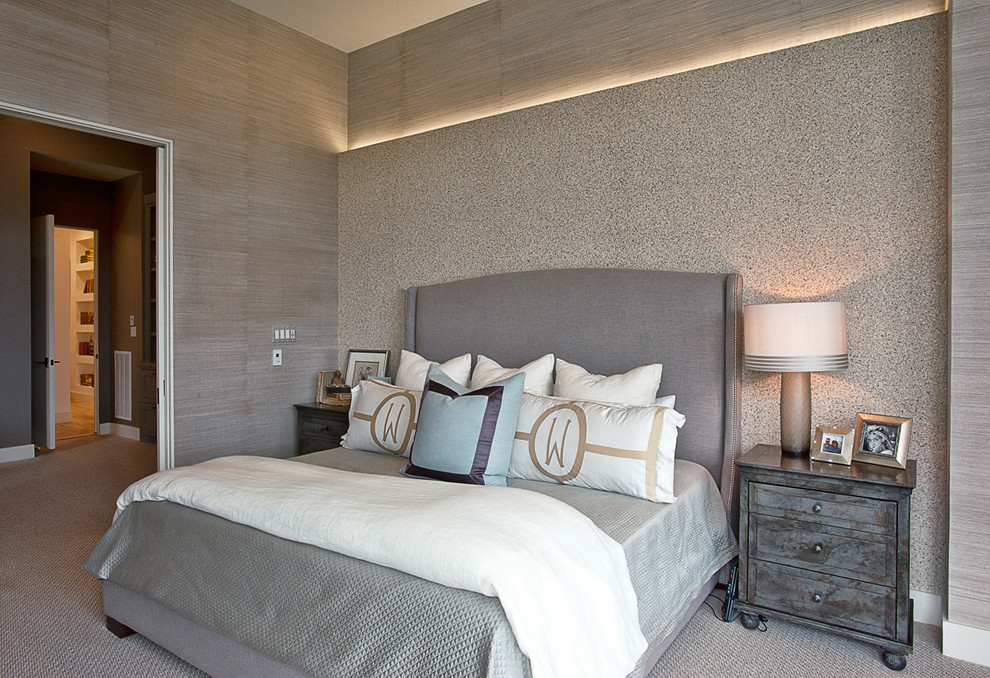 Superb wingback bed in Bedroom Contemporary with Accent Wall Behind Bed  next to Grey Bedding  alongside Grey Headboard  and Soffit Lighting