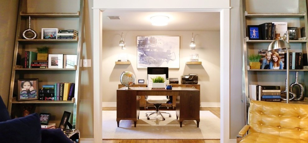 masculine wall art home office contemporary with space