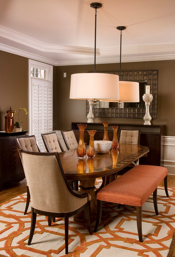 Drum Pendant Lighting Dining Room Transitional With