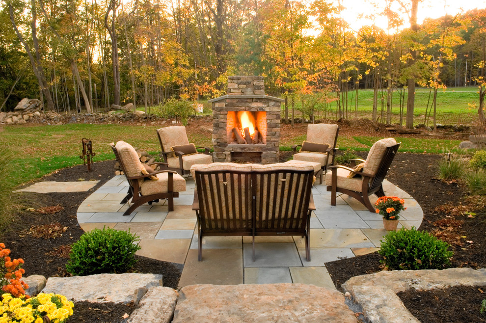 stone outdoor fireplace patio