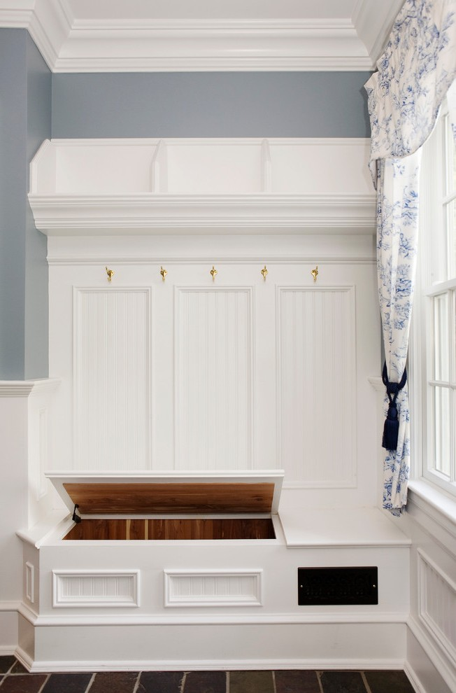 Corner Mudroom Bench With White Shelves Front Door Narrow