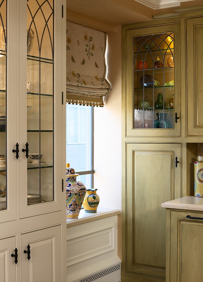 Distressed China Cabinet With French Crystal Chandelier Blue Faux