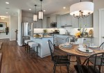 L Shaped Kitchen Farmhouse with Built in Banquette Glass Mosaic Tiles