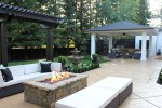Patio Designs with Outdoor Bar Stools Pool Side Wine Cooler Stone Countertop