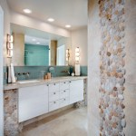 sliced pebble tile bathroom transitional with chrome fixtures