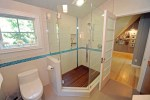Tiled Shower Stalls with Polished Nickel Traditional Handles Statuario Skylight