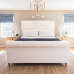 tufted sleigh bed bedroom transitional with projector blackout curtains and drapes