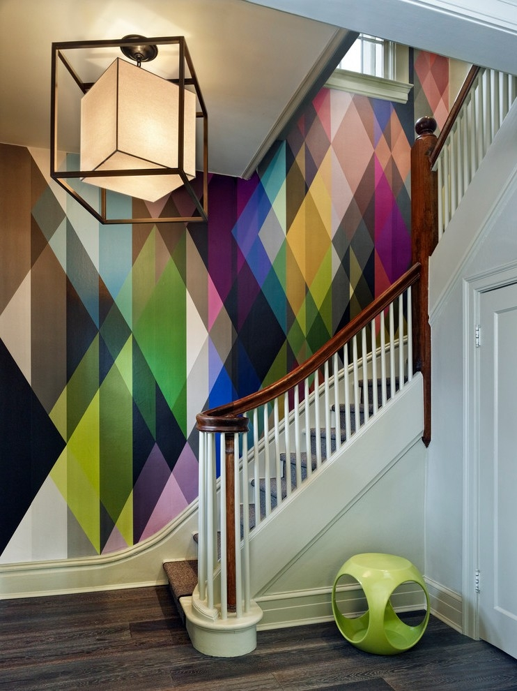 Denver Large Paisley Wallpaper Staircase Contemporary With Frosted | Glass And Chrome Staircase | Contemporary | White Post | Single Spine | Lights | Stainless Steel