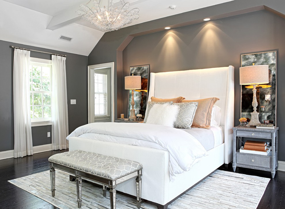 New York Purple Gray Color Bedroom Traditional With