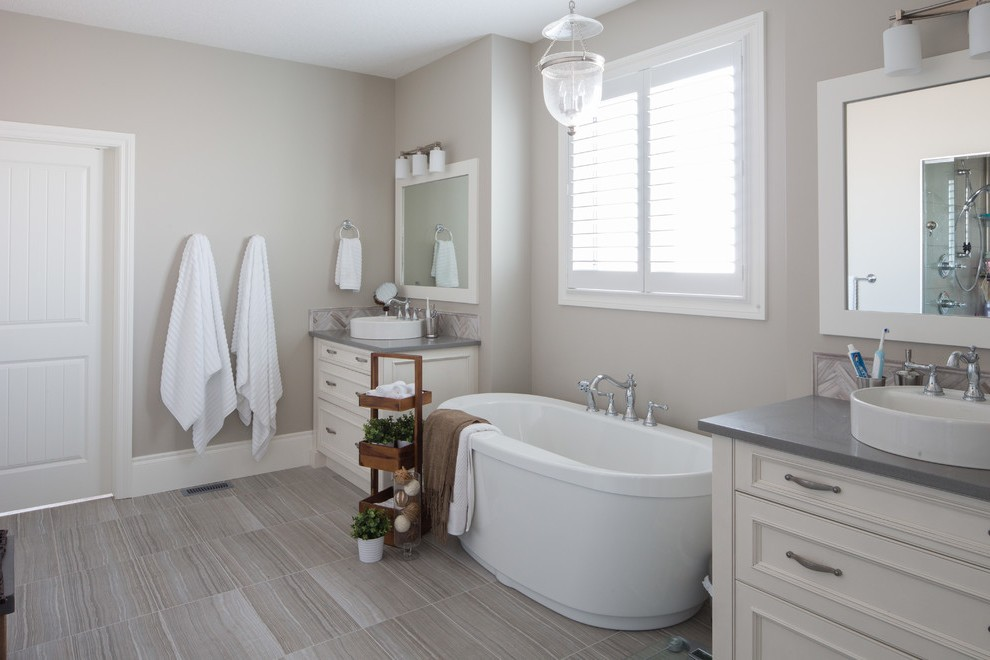 Calgary Revere Pewter By Benjamin Moore Bathroom Traditional With Indoor Plants Oval Soaking Bathtubs Hurricane Lantern Over Tub