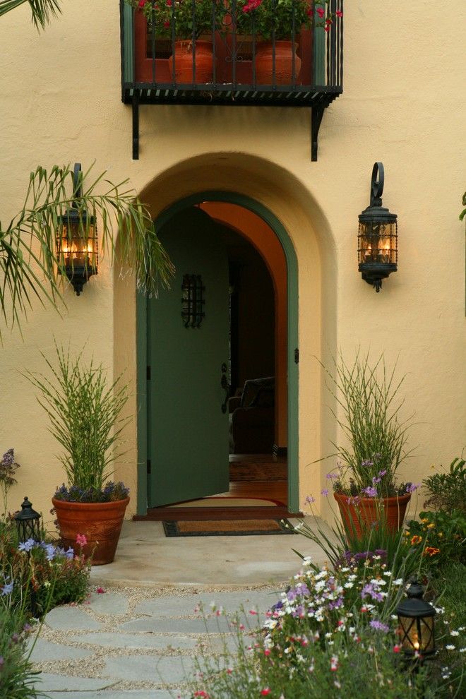 Los Angeles Front Porch Lighting Entry Mediterranean With Outdoor Potted Plant Wall Lights And