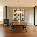minneapolis nelson saucer with dimmer switch dining room modern and wood-burning stove concrete wall