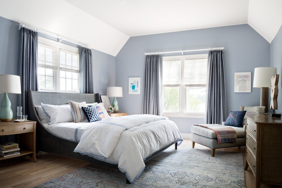 New York Purple Gray Paint Color Bedroom Transitional With