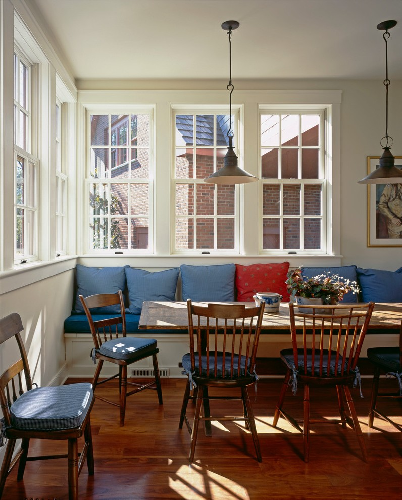 philadelphia farm dining room with transitional chairs traditional and blue cushions eat-in kitchen