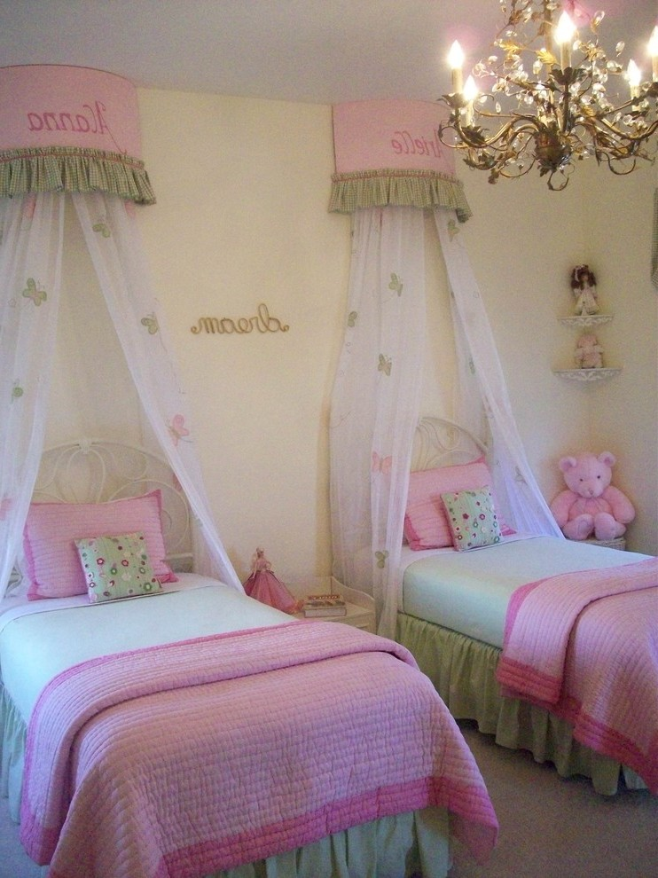 Splendid Wall Mounted Bed Canopy With Decorative Pillows