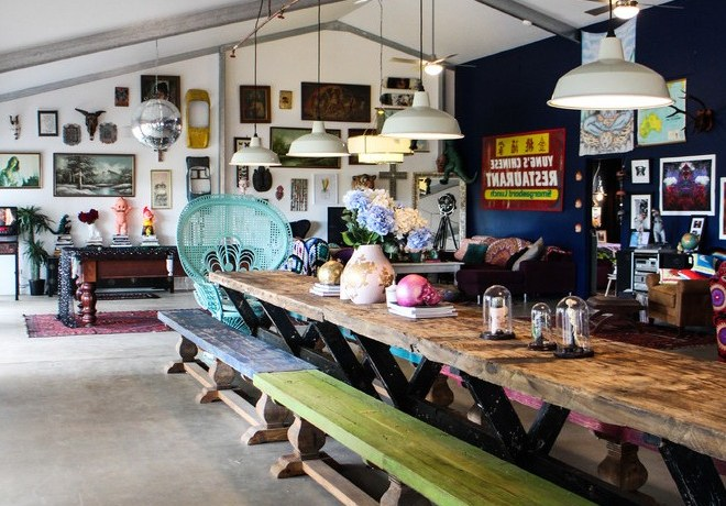 bangalow new south wales australia narrow outdoor dining table with eclectic benches spaces and eco friendly design shed