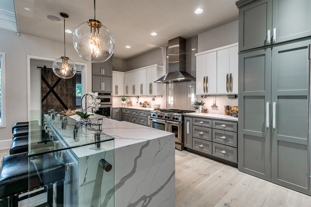 oklahoma city gray kitchen ideas with faux leather counter height stools transitional and two tone cabinets under cabinet lighing