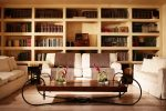 Awesome Stacked Book Coffee Table Living Room Eclectic with Crown Moulding Small Fireplace