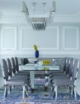 Marvelous Hollywood Regency Chandelier Dining Room Contemporary with Colorful Area Rug White Wall Paneling