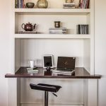 canada overstock corner desk with metal adjustable height bar stools home office transitional and open shelves