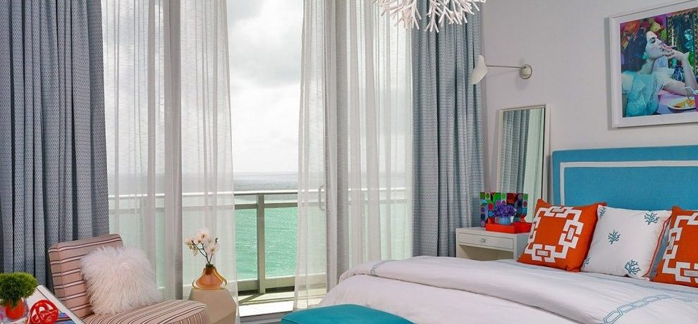 miami Cute Apartment Decorating Ideas with solid color vanity stools and benches bedroom beach style striped rug studded dresser